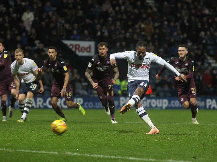 Preston North End's Daniel Johnson scores his sides first goal  <br /> <br /> Photographer Mick Walker/CameraSport<br /> <br /> The EFL Sky Bet Championship - Preston North End v Swansea City - Saturday 12th January 2019 - Deepdale Stadium - Preston<br /> <br /> World Copyright &copy; 2019 CameraSport. All rights reserved. 43 Linden Ave. Countesthorpe. Leicester. England. LE8 5PG - Tel: +44 (0) 116 277 4147 - admin@camerasport.com - www.camerasport.com