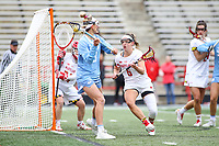 College Park, MD - February 24, 2019: North Carolina Tar Heels Katie Hoeg (8) passes the ball during the game between North Carolina and Maryland at  Capital One Field at Maryland Stadium in College Park, MD.  (Photo by Elliott Brown/Media Images International)