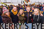 Keelin Deenihan Sugrue, Barry Deenihan, Marian Sugrue, Kevin Sugrue and Grace Clifford Austin Stacks supporters at the Austin Stacks v Slaughtneil All Ireland Club Football Semi Final in Portlaoise on Sunday.
