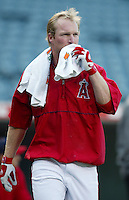 Darin Erstad of the Los Angeles Angels before a 2002 MLB season game at Angel Stadium, in Anaheim, California. (Larry Goren/Four Seam Images)
