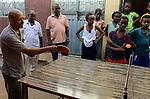 ETHIOPIA , Dire Dawa / AETHIOPIEN, Dire Dawa, katholische Kirche, Kinder spielen Tischtennis nach einem Hygiene Seminar, Kapuziner Fr. Worku Demeke