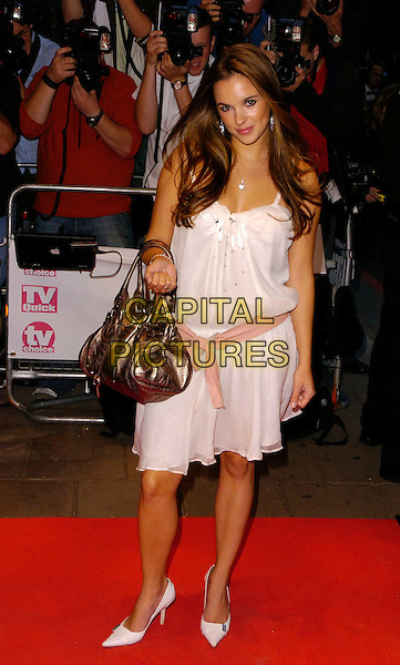 JODI ALBERT.TV Quick & TV Choice Awards arrivals at the Dorchester Hotel, London, UK..September 4th, 2006.Ref: CAN.full length white dress metallic purse bag pink ribbon belt.www.capitalpictures.com.sales@capitalpictures.com.©Can Nguyen/Capital Pictures