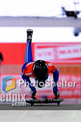 17 December 2010: Olga Potelitcina sliding for Russia, finishes in 8th place at the Viessmann FIBT Skeleton World Cup Championships in Lake Placid, New York, USA. Mandatory Credit: Ed Wolfstein Photo