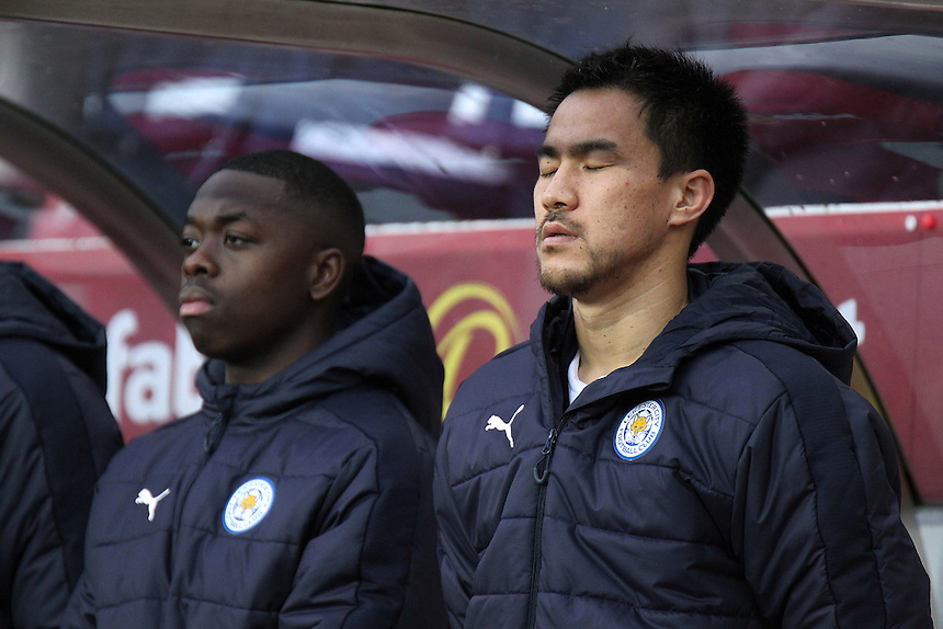 Leicester City's Shinji Okazaki pays his respects during a minutes silence ahead of kick off to honour the victims of this weeks Brazilian air crash which killed members of Chapecoense football team<br /> <br /> Photographer Rich Linley/CameraSport<br /> <br /> The Premier League - Sunderland v Leicester City - Saturday 3rd December 2016 - Sunderland Stadium of Light - Sunderland<br /> <br /> World Copyright &copy; 2016 CameraSport. All rights reserved. 43 Linden Ave. Countesthorpe. Leicester. England. LE8 5PG - Tel: +44 (0) 116 277 4147 - admin@camerasport.com - www.camerasport.com