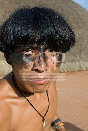 Xingu Indigenous Park, Mato Grosso State, Brazil. Aldeia Moygu (Ikpeng). Payata Ikpeng with black face paint.