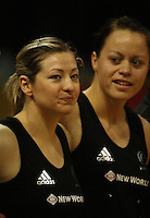 New Silver Ferns Anna Thompson and Larissa Willcox line up before the match during the International  Netball Series match between the NZ Silver Ferns and World 7 at TSB Bank Arena, Wellington, New Zealand on Monday, 24 August 2009. Photo: Dave Lintott / lintottphoto.co.nz