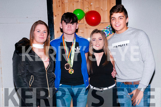 Trojan Boxing Club Celabration : Pictured at the Trojan Boxing Club, Listowel celebration night at the Irish American Bar, Ballybunion on Friday night last were the All-Ireland & European medal winners in the club. L-R: Niamh Ball, 5m All-Ireland & 1 European, Sean Walsh, 2 All-Ireland & 1  European bronze, Philly Hickey, 1 All-Irteland & 2 European & Spencer Neill , 1 All-Ireland silver.