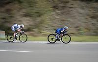 Petr Vakoc  (CZE/Quick-Step Floors) &amp; Boris Vall&eacute;e (BEL/Fortuneo-Oscaro) speeding<br /> <br /> Binche-Chimay-Binche 2017 (BEL) 197km<br /> 'M&eacute;morial Frank Vandenbroucke'