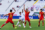 Kairat Zhyrgalbek of Kyrgyz Republic (C) competes for the ball with Wu Xi (2rd R) and Gao Lin of China (L) during the AFC Asian Cup UAE 2019 Group C match between China (CHN) and Kyrgyz Republic (KGZ) at Khalifa Bin Zayed Stadium on 07 January 2019 in Al Ain, United Arab Emirates. Photo by Marcio Rodrigo Machado / Power Sport Images