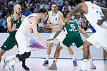 Real Madrid Fabien Causeur and Luka Doncic and Panathinaikos Mike James and Nick Calathes during Turkish Airlines Euroleague Quarter Finals 4th match between Real Madrid and Panathinaikos at Wizink Center in Madrid, Spain. April 27, 2018. (ALTERPHOTOS/Borja B.Hojas)