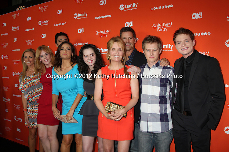 """LOS ANGELES - SEP 13:  Marlee Matlin, Katie Leclerc, Gilles Marini, Constance Marie, Vanessa Marano, Lea Thompson, DW Moffett, Lucas Grabeel, Sean Berdy arrives at the """"""""Switched at Birth"""" Fall Premiere & Book Launch Party at The Redbury Hotel on September 13, 2012 in Los Angeles, CA"""