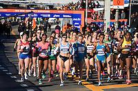 The start of the Women's Elite runners at the ING New York City Marathon on Staten Island on 07 November 2010, with Tatyana Pushkareva, Mara Yamauchi, Buzunesh Deba, and Teyba Erkesso in the lead.
