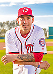 28 February 2016: Washington Nationals catcher Jose Lobaton poses for his Spring Training Photo-Day portrait at Space Coast Stadium in Viera, Florida. Mandatory Credit: Ed Wolfstein Photo *** RAW (NEF) Image File Available ***