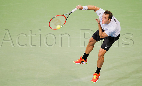 06.03.2016. Hannover, Germany.  Philipp Kohlschreiber of Germany serves the ball during the 1st round singles tennis match of the Davis Cup between Kohlschreiber (Germany) and Berdych (Czech Republic) at the TUI Arena in Hanover, Germany