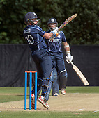 Cricket Scotland - Scotland V Zimbabwe One Day International match at Grange CC today (Thur) - this match is the second of two ODI matches this week against Zimbabwe, and Scotland won the first encounter, on Thursday, by 26 runs - Scotland's Calum MacLeod cuts the ball away, batting with Kyle Coetzer - picture by Donald MacLeod - 17.06.2017 - 07702 319 738 - clanmacleod@btinternet.com - www.donald-macleod.com
