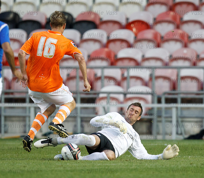 Allan McGregor charges out and slide tackles the onrushing Brett Ormerod outside the box