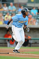 Outfielder Jeremy Williams (16) of the Myrtle Beach Pelicans in a game against the Frederick Keys on August 4, 2012, at TicketReturn.Com Field in Myrtle Beach, South Carolina. Myrtle Beach won, 4-3. (Tom Priddy/Four Seam Images)