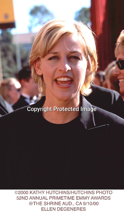 ©2000 KATHY HUTCHINS/HUTCHINS PHOTO.52ND ANNUAL PRIMETIME EMMY AWARDS.@THE SHRINE AUD., CA 9/10/00.ELLEN DEGENERES
