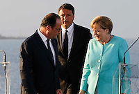 French President, Francoise Hollande ,  Matteo Renzi , prime minister of Italy, and German Chancellor Angela Merkel , attends at press conference  on board of Itally's Navy Garibaldi, at the of Italy - France - Germany summit in Ventotene Island 22 August 2016