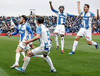 2nd February 2020; Estadio Municipal de Butarque, Madrid, Spain; La Liga Football, Club Deportivo Leganes versus Real Sociedad; Oscar Rodriguez (CD Leganes)  celebrates his goal from a free kick which made it 2-1 in the 94th minute of the game