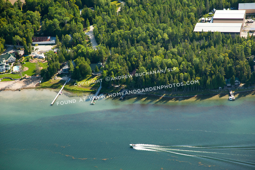 homes and boathouses along Islington Channel from the Cedarville town docks to Islington Point, Les Cheneaux area of Lake Huron