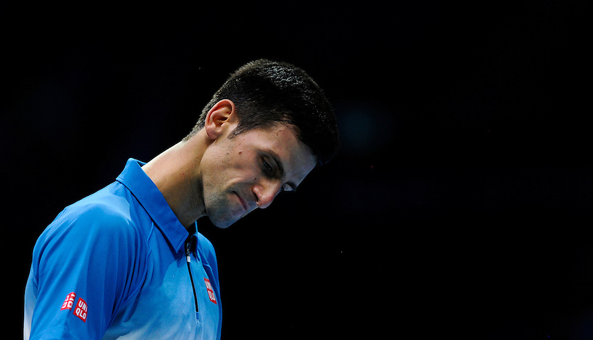 Novak Djokovic  in action against Kei Nishikori in their Stan Smith Group match today - Novak Djokovic def Kei Nishikori 6-1 6-1<br /> <br /> Photographer Ashley Western/CameraSport<br /> <br /> International Tennis - Barclays ATP World Tour Finals - O2 Arena - London - Day 1 - Sunday 15th November 2015<br /> <br /> &copy; CameraSport - 43 Linden Ave. Countesthorpe. Leicester. England. LE8 5PG - Tel: +44 (0) 116 277 4147 - admin@camerasport.com - www.camerasport.com