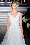 Model walks runway in a Yessel bridal gown from the Atelier Pronovias 2014 collection by Pronovias, at St. James' Church in New York City, on November 12, 2013.