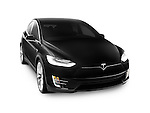 Black 2017 Tesla Model X luxury SUV electric car isolated on white background with clipping path