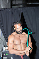 WWE Champion Jinder Mahal uses a Thera Cane as he stretches before a match as part of the WWE Live Summerslam Heatwave Tour at the MassMutual Center in Springfield, Massachusetts, USA, on Mon., Aug. 14, 2017.