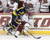 Quinn Gould (Merrimack - 10), Zach Sanford (BC - 24) - The Boston College Eagles defeated the visiting Merrimack College Warriors 2-1 on Wednesday, January 21, 2015, at Kelley Rink in Conte Forum in Chestnut Hill, Massachusetts.