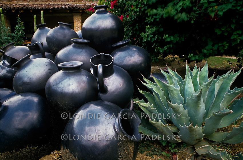 Famous Dona Rosa black pottery, San Bartolo Coyotepec, Oaxaca, Mexico