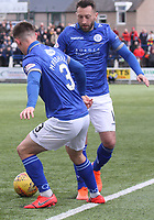 Jordan Marshall and Stephen Dobbie combine in the SPFL Ladbrokes Championship football match between Queen of the South and Partick Thistle at Palmerston Park, Dumfries on  4.5.19.