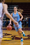 GRAND RAPIDS, MI - MARCH 18: Lauren Dillon (11) of Tufts University runs down the court toward defenders during the Division III Women's Basketball Championship held at Van Noord Arena on March 18, 2017 in Grand Rapids, Michigan. Amherst College defeated Tufts University 52-29 for the national title. (Photo by Brady Kenniston/NCAA Photos via Getty Images)