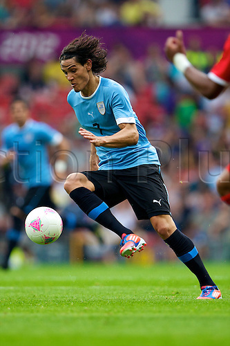 26.07.2012 Manchester, England. Uruguay forward Edinson Cavani in action during the first round group A mens match between United Arab Emirates and Uruguay at Old Trafford.