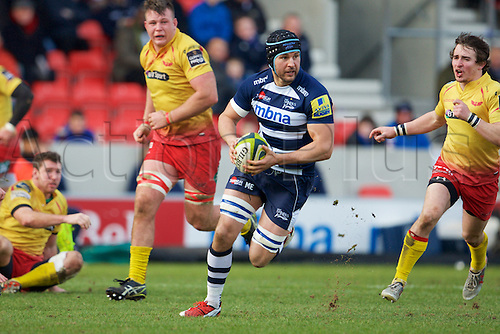 07.02.2015.  Sale, England.  LV Cup Rugby. Sale Sharks versus Scarlets. Sale Sharks  Mark Easter breaks into open field.
