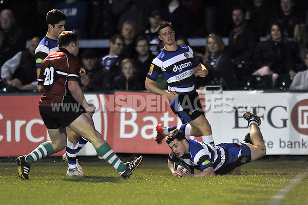 Sid Blackmore of Bath United scores a try. End-of-season friendly match, between Bath United and Somerset County Senior XV on April 20, 2015 at the Recreation Ground in Bath, England. Photo by: Patrick Khachfe / Onside Images