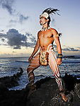 Portrait of Easter Island male in traditional Rapa Nui warrior dress.