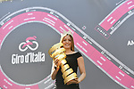 Giro Madrina, Alice Rachele Arlanch, Miss Italia 2017 with the Trofeo Senza Fine at sign on before the start of Stage 4 a 202km very hilly stage running from Catania to Caltagirone, Sicily, Italy. 8th May 2018.<br /> Picture: LaPresse/Fabio Ferrari | Cyclefile<br /> <br /> <br /> All photos usage must carry mandatory copyright credit (&copy; Cyclefile | LaPresse/Fabio Ferrari)