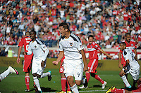 LA Galaxy defender Omar Gonzalez (4) reacts after scoring the game tying goal in the 90th minute.  The LA Galaxy tied the Chicago Fire 1-1 at Toyota Park in Bridgeview, IL on September 4, 2010