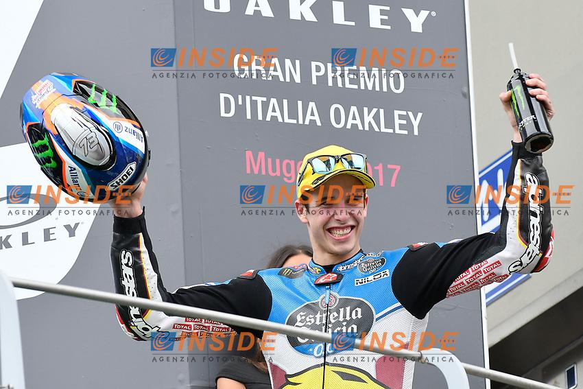 SCARPERIA,FLORENCE, ITALY - JUNE 04:,2017 Mattia Pasini of Spain and EG 0,0 Marc VDS (Moto2) celebrates on the podium his third place at the end race MotoGP during  MotoGP Gran Premio d'Italia- at Mugello Circuit. on june 04, 2017 in Scarperia Italy.<br /> Photo Marco Iorio/Insidefoto