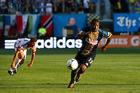 Michael LaHoud (13) of the Philadelphia Union. DC United defeated Philadelphia Union 1-0 during a Major League Soccer (MLS) match at PPL Park in Chester, PA, on June 16, 2012.