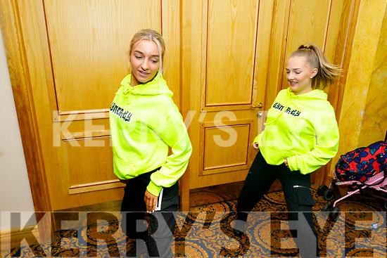Emma Duggan and Caoimhe Riggard practicing for the Hip Hop Dance Competition in the Brandon Hotel on Saturday.