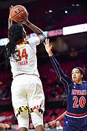 College Park, MD - NOV 21, 2017: Maryland Terrapins forward Brianna Fraser (34) shoots a jump shot over Howard Bison center Jayla Myles (20) during the game between the Howard Lady Bison and the Maryland Terrapins at the XFINITY Center in College Park, MD.  (Photo by Phil Peters/Media Images International)