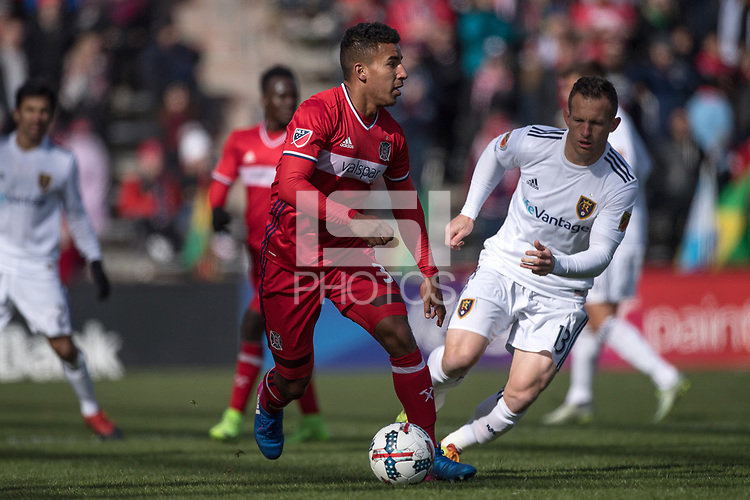 Bridgeview, IL - Saturday, March 11, 2017: The Chicago Fire defeated Real Salt Lake by the score of 2-0 in a Major League Soccer (MLS) game at Toyota Park.