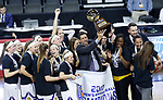 SIOUX FALLS, SD: MARCH 7: Coach J.D. Gravina holds up the trophy after Western Illinois defeated IUPUI for the Women's Summit League Basketball Championship on March 7, 2017 at the Denny Sanford Premier Center in Sioux Falls, SD. (Photo by Dick Carlson/Inertia)