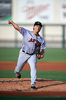Jupiter Hammerheads starting pitcher Cody Poteet (11) delivers a pitch during a game against the Lakeland Flying Tigers on April 17, 2017 at Joker Marchant Stadium in Lakeland, Florida.  Lakeland defeated Jupiter 5-1.  (Mike Janes/Four Seam Images)