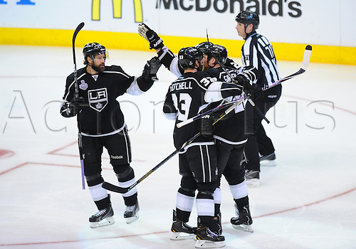 07 June 2014: The Kings celebrate scoring their third goal of the game in the third period during game 2 of the Stanley Cup Final between the New York Rangers and the Los Angeles Kings at Staples Center in Los Angeles, CA.