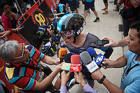 lot's of microphones to speak into after the finish for Sergio Henao (COL/SKY)<br /> <br /> stage 17: Burgos-Burgos TT (38.7km)<br /> 2015 Vuelta &agrave; Espana