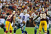 Dallas Cowboys quarterback Tony Romo (9) calls signals in the fourth quarter against the Washington Redskins at FedEx Field in Landover, Maryland on Sunday, September 12, 2010. The Redskins won the game 13 - 7..Credit: Ron Sachs / CNP