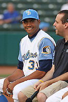 Angelo Paulino #33 of the Myrtle Beach Pelicans being interviewed by Pelican's radio announcer Tyler Maun before his team's game against the Frederick Keys on May 14, 2010 in Myrtle Beach, SC.